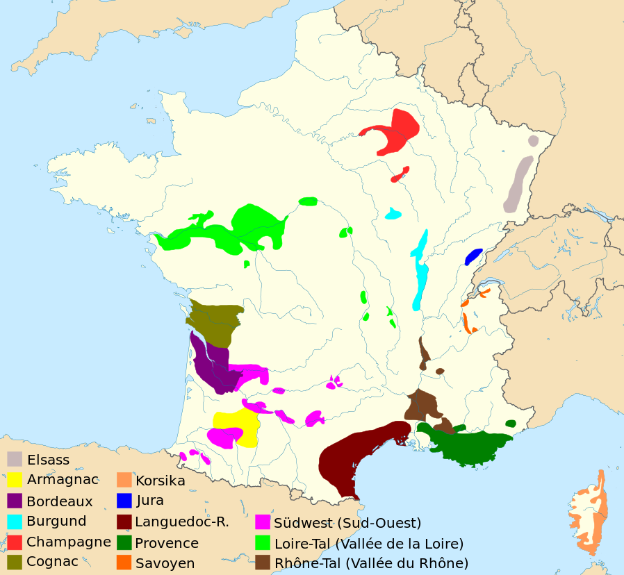Map of France - wine regions
