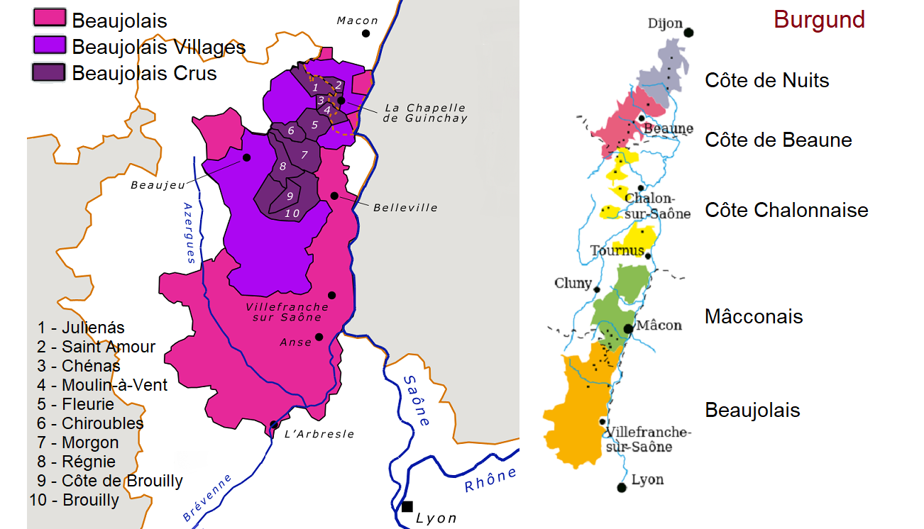 Map of Beaujolais / Map of Burgundy