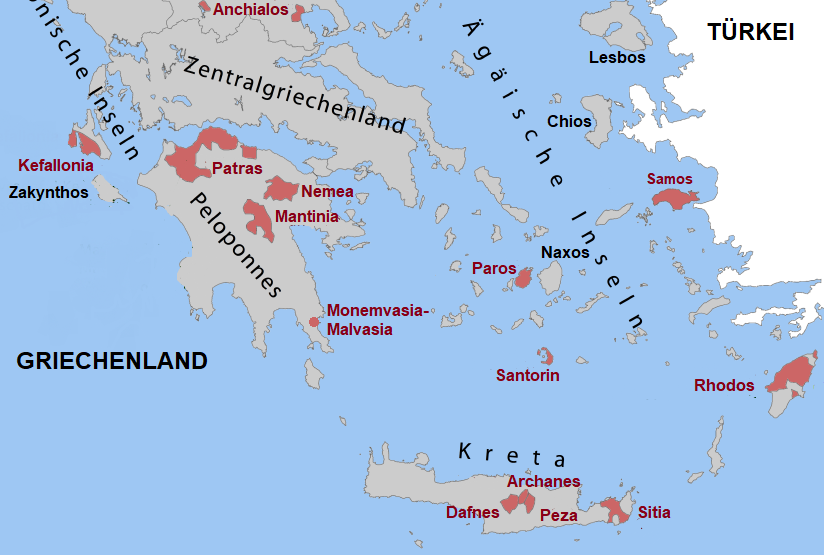 Map of Greece - Aegean Islands with Samos