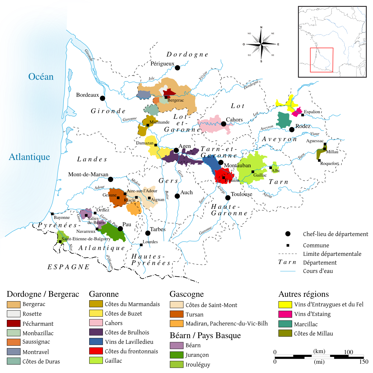 Map of southwest France with all wine growing areas and appellations